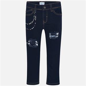 Pantalon largo tejano aplique